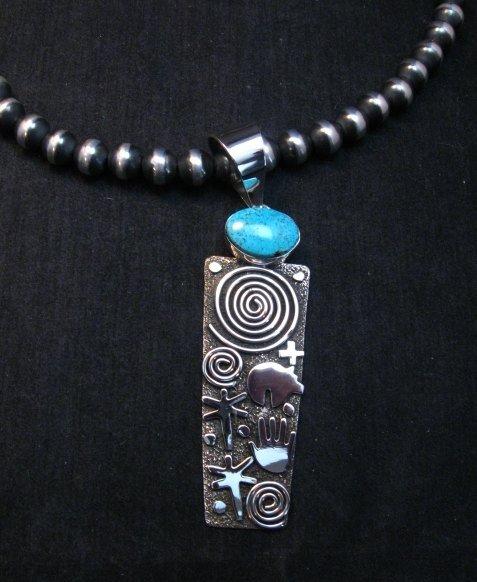 Image 1 of Native American Navajo Alex Sanchez Pendant Petroglyph Turquoise Silver