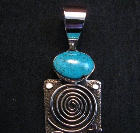 Image 2 of Native American Navajo Alex Sanchez Pendant Petroglyph Turquoise Silver