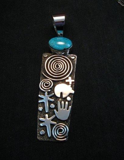 Image 0 of Native American Navajo Alex Sanchez Pendant Petroglyph Turquoise Silver