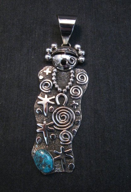 Image 0 of Navajo Alex Sanchez Maiden Pendant Turquoise Silver