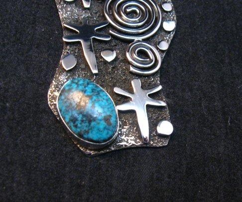 Image 3 of Navajo Alex Sanchez Maiden Pendant Turquoise Silver