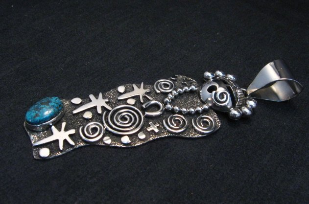 Image 2 of Navajo Alex Sanchez Maiden Pendant Turquoise Silver