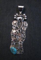 Navajo Alex Sanchez Maiden Pendant Turquoise Silver