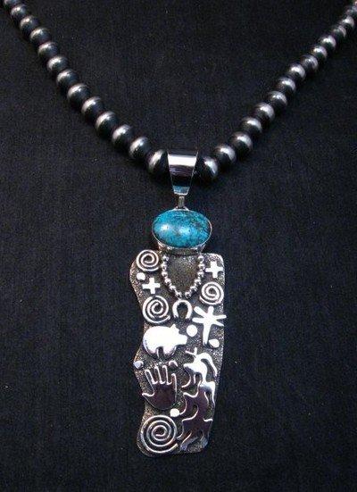 Image 5 of Large Navajo Alex Sanchez Corn Maiden Pendant Turquoise Silver
