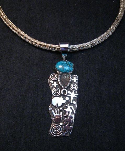 Image 1 of Large Navajo Alex Sanchez Corn Maiden Pendant Turquoise Silver