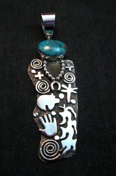 Image 0 of Large Navajo Alex Sanchez Corn Maiden Pendant Turquoise Silver