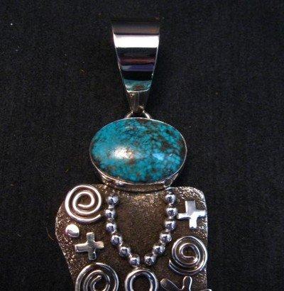 Image 2 of Large Navajo Alex Sanchez Corn Maiden Pendant Turquoise Silver