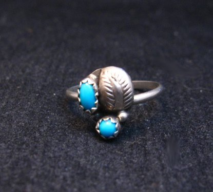 Image 0 of Tiny Vintage Native American Turquoise Silver Ring sz5-1/2