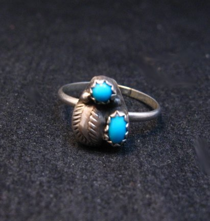 Image 1 of Tiny Vintage Native American Turquoise Silver Ring sz5-1/2