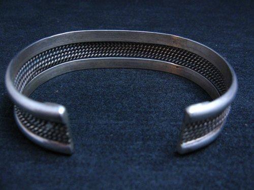 Image 3 of Vintage Native American Navajo Sterling Silver Cuff Bracelet
