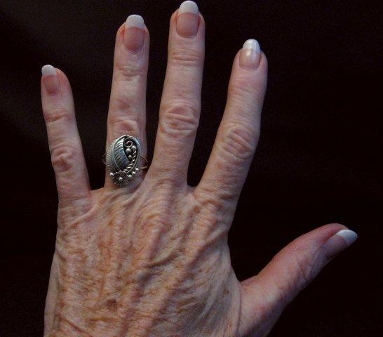 Image 3 of Vintage Native American Navajo Sterling Silver Ring Hallmarked sz6-1/4
