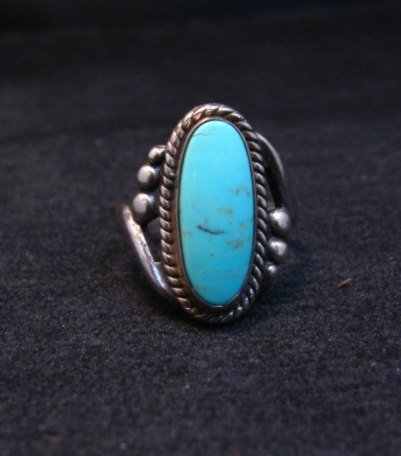 Image 1 of Vintage Navajo Turquoise Silver Bell Trading Post Ring, sz6-1/4