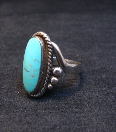 Image 2 of Vintage Navajo Turquoise Silver Bell Trading Post Ring, sz6-1/4
