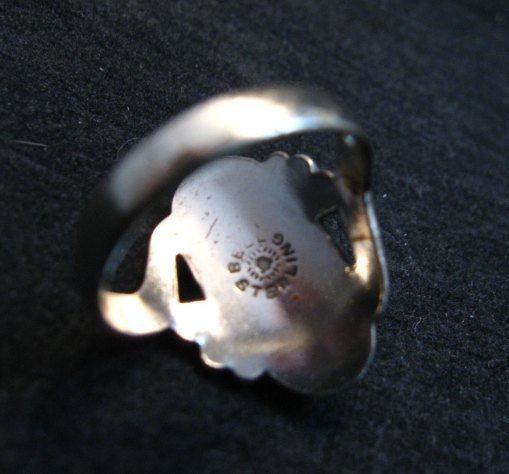 Image 3 of Vintage Navajo Turquoise Silver Bell Trading Post Ring, sz6-1/4