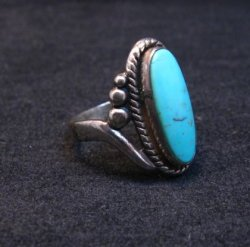 Vintage Navajo Turquoise Silver Bell Trading Post Ring, sz6-1/4