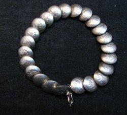 Vintage Navajo Native American Stamped Silver Disk Link Bracelet