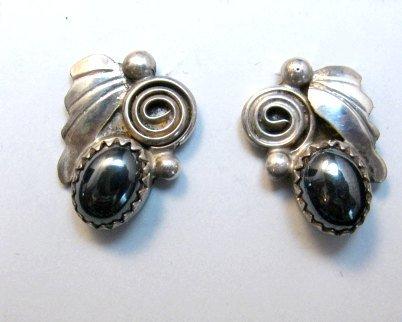 Image 0 of Vintage Navajo Hematite Silver Earrings