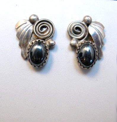 Image 1 of Vintage Navajo Hematite Silver Earrings
