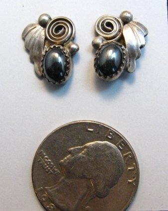 Image 2 of Vintage Navajo Hematite Silver Earrings
