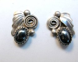 Vintage Navajo Hematite Silver Earrings