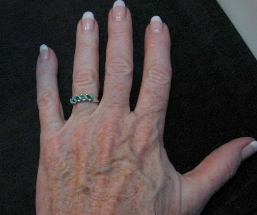 Image 1 of Dainty Vintage Native American Zuni Turquoise Ring sz5-1/2