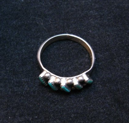 Image 2 of Dainty Vintage Native American Zuni Turquoise Ring sz5-1/2
