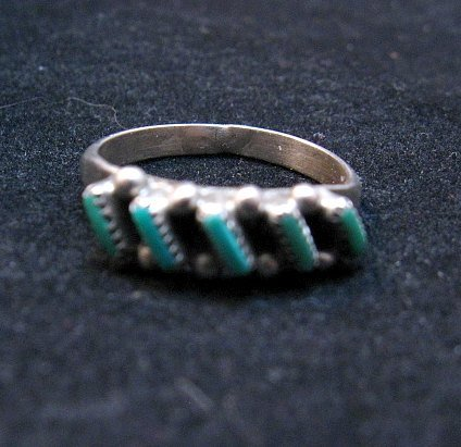 Image 3 of Dainty Vintage Native American Zuni Turquoise Ring sz5-1/2