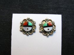 Vintage Zuni Sunface Eye of God Inlay Earrings