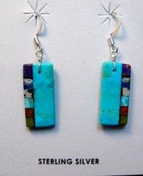Turquoise Multistone Inlaid Earrings, Mary Tafoya, Santo Domingo