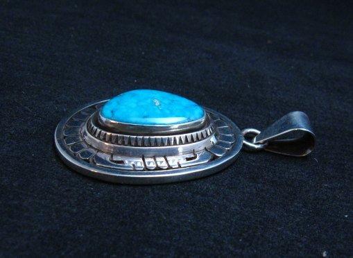 Image 1 of Leonard Nez Navajo Kingman Turquoise Silver Pendant