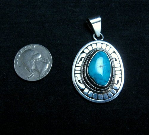 Image 2 of Leonard Nez Navajo Kingman Turquoise Silver Pendant