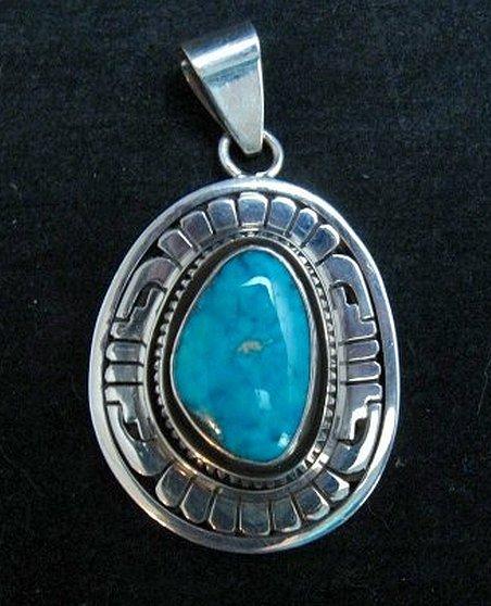 Image 0 of Leonard Nez Navajo Kingman Turquoise Silver Pendant