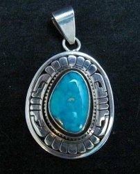 Leonard Nez Navajo Kingman Turquoise Silver Pendant