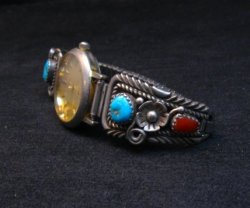 Vintage Navajo Pawn Turquoise Coral Watch Bracelet