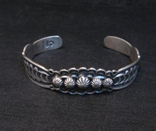 Image 1 of Benny Ramone Navajo Stamped Bump-out Sterling Silver Cuff Bracelet