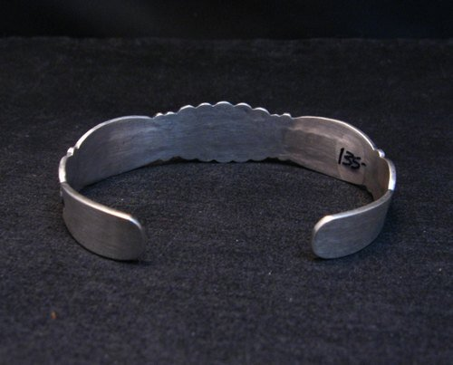Image 5 of Benny Ramone Navajo Stamped Bump-out Sterling Silver Cuff Bracelet