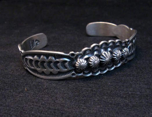 Image 2 of Benny Ramone Navajo Stamped Bump-out Sterling Silver Cuff Bracelet