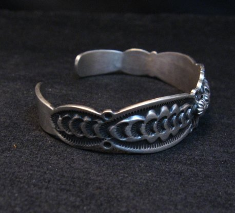 Image 3 of Benny Ramone Navajo Stamped Bump-out Sterling Silver Cuff Bracelet