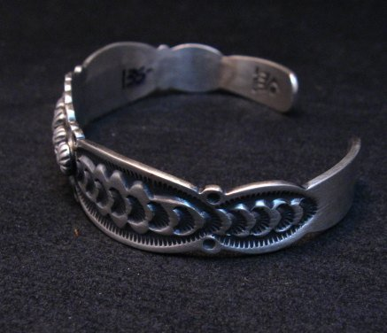 Image 4 of Benny Ramone Navajo Stamped Bump-out Sterling Silver Cuff Bracelet