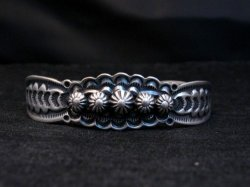Benny Ramone Navajo Stamped Bump-out Sterling Silver Cuff Bracelet
