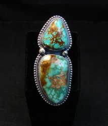 Huge Navajo Royston Turquoise Silver Ring by Randy Boyd sz6