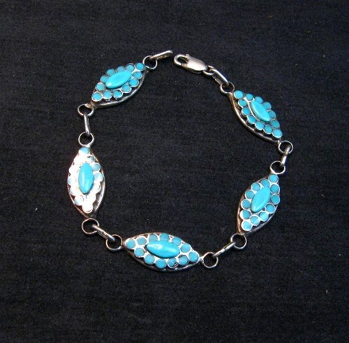 Image 0 of Zuni Dishta Turquoise Silver Link Bracelet