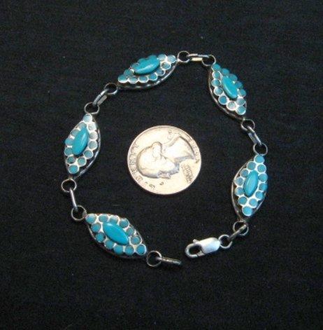 Image 4 of Zuni Dishta Turquoise Silver Link Bracelet