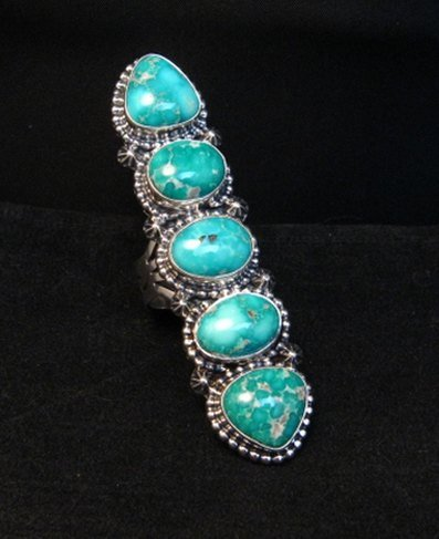 Image 0 of Long Navajo Turquoise Mountain 5-Stone Ring by Randy Boyd sz8