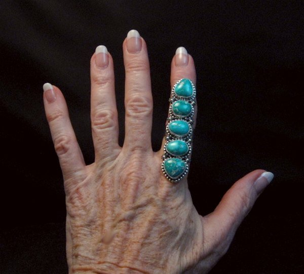 Image 1 of Long Navajo Turquoise Mountain 5-Stone Ring by Randy Boyd sz8