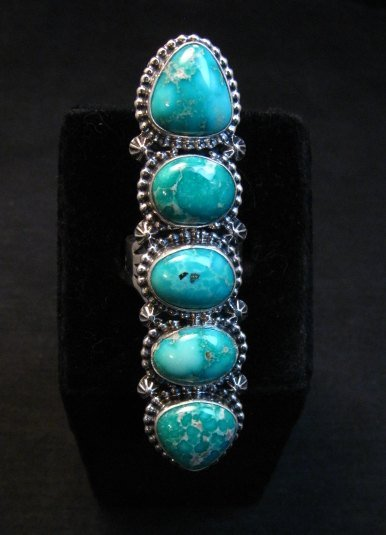 Image 2 of Long Navajo Turquoise Mountain 5-Stone Ring by Randy Boyd sz8