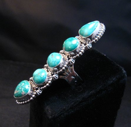 Image 3 of Long Navajo Turquoise Mountain 5-Stone Ring by Randy Boyd sz8