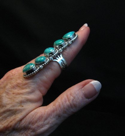 Image 5 of Long Navajo Turquoise Mountain 5-Stone Ring by Randy Boyd sz8