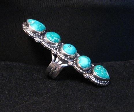 Image 6 of Long Navajo Turquoise Mountain 5-Stone Ring by Randy Boyd sz8