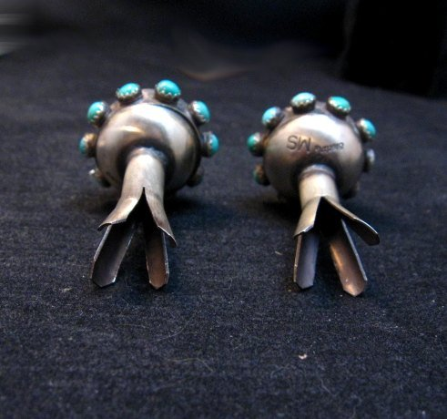 Image 4 of Navajo ~ Monica Smith ~ Hand Made Silver Turquoise Squash Blossom Earrings